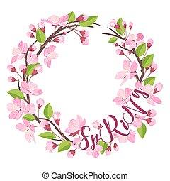 fiore ciliegia, primavera, fondo, -, con, ghirlanda floreale, in, vettore