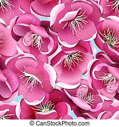 fiore, ciliegia, seamless, modello