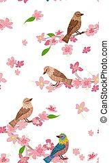 fiore, ciliegia, seamless, struttura, uccelli