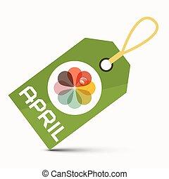 fiore, colorito, astratto, isolato, etichetta, aprile, sfondo verde, bianco