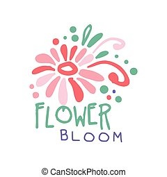 fiore, colorito, illustrazione, mano, vettore, sagoma, logotipo, disegnato, fiore