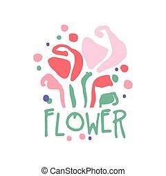 fiore, colorito, illustrazione, mano, vettore, sagoma, logotipo, disegnato