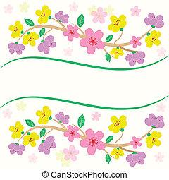 fiore, colorito, sakura, scheda