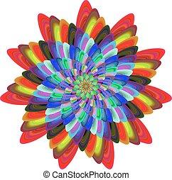fiore, colorito, spirale, generare, computer, fractal