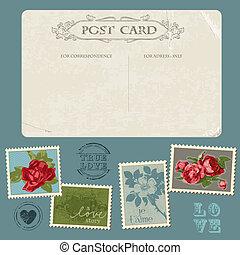 fiore, congratulazione, cartolina, vendemmia, -, invito, francobolli, vettore