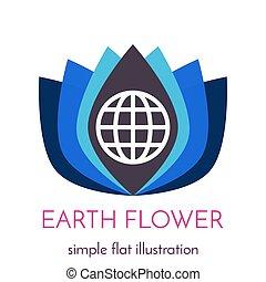 fiore, contorno, globo, illustrazione, geometrico, icona