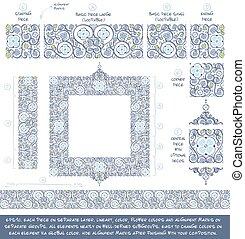 fiore, decorativo, ornamenti, costruzione, kit, -, blu