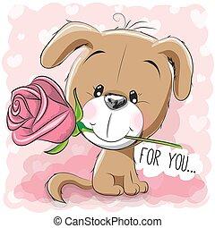 fiore dentellare, cucciolo, fondo, cartone animato