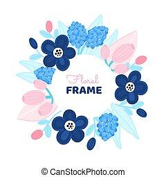 fiore, design., floreale, artistico, cerchio, flowers., colorito, cornice, disegnato, fondo, mano