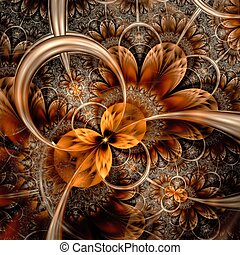 fiore, digitale, scuro, grafica, arancia, fractal