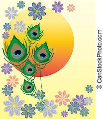 fiore, disegno, asiatico