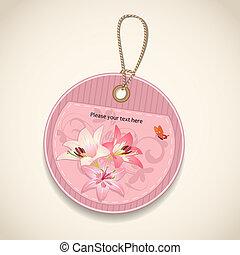 fiore, disegno, etichetta