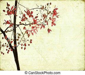 fiore, disegno, su, anticaglia, costoluto, fondo
