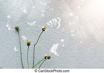 fiore, erba, parete