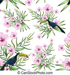 fiore esotico, colorito, modello, seamless, uccello...