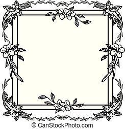 fiore, foglia, cornice, semplice, text., vettore, posto, tuo