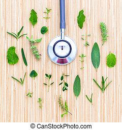 fiore, foglia, potere, legno, natural., erbe, concetto, tavola verde, stetoscopio, cerchio