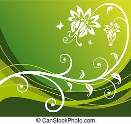 fiore, fondo, verde