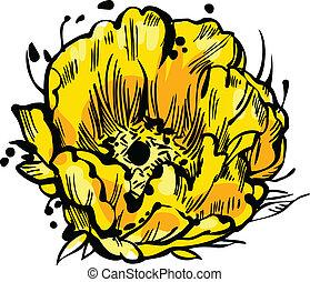 fiore, giallo, germoglio