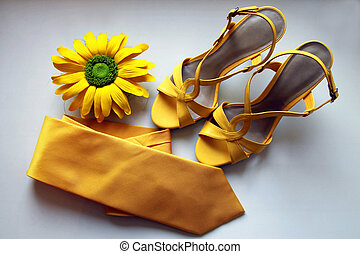 fiore, giallo, sandali, fondo., matrimonio, cravatta, bianco