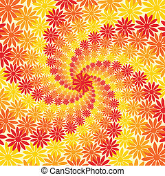 fiore, giallo, sfondo arancia, turbine, rosso