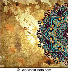 fiore, grunge, laccio, oro, ornamento, disegno, fondo, cerchio