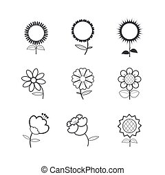 fiore, icone, bianco, fondo