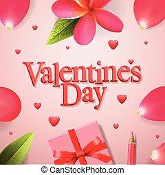 fiore, illustration., regalo, concetto, rosa, valentines, petali, boxe, vettore, rosso, giorno, nastro