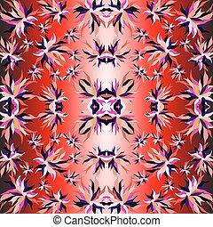 fiore, illustrazione, petali, vettore, illuminazione, fondo, rosso