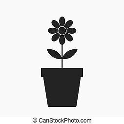 fiore, in, uno, vaso, icon.