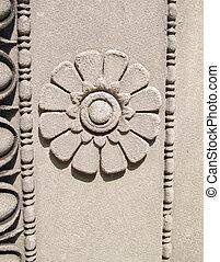 fiore, intagliato, in, muro pietra