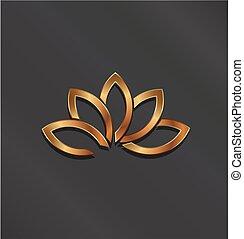 fiore, loto, vettore, logo., bronzo, icona