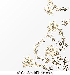 fiore, lusso, fondo, sagoma