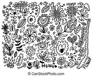 fiore, mano, disegnare, elemento