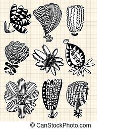 fiore, mano, disegnare