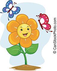 fiore, mascotte, con, farfalle
