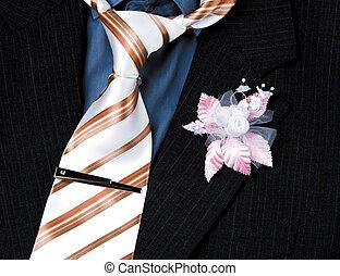 fiore, matrimonio, sposo, closeup, completo