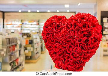fiore, modellato, bouqet, sentire, fronte, negozio
