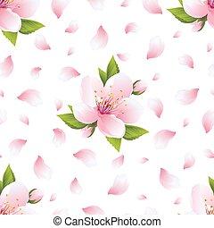 fiore, modello, seamless, petali, sakura, fondo