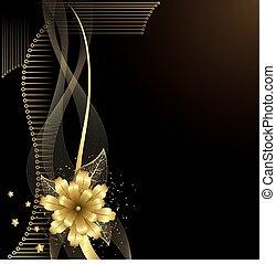 fiore, oro, fondo
