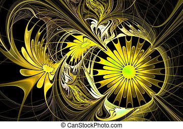 fiore, palette., giallo, fractal, fondo., nero, com, design.
