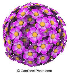 fiore, palla, rosa, floreale, sfera, modello, fondo