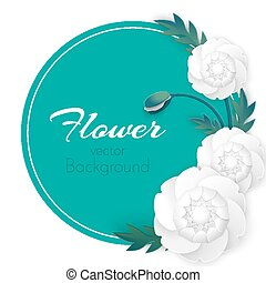 fiore, peonia, vettore, fondo, cerchio, fiori, bianco