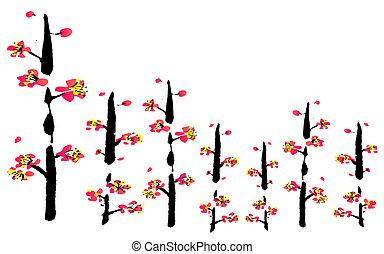 fiore, pittura, cinese