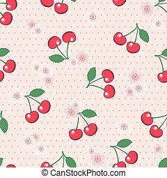 fiore, polka, seamless, ciliegie, fondo, puntino