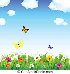 fiore, prato, con, farfalle