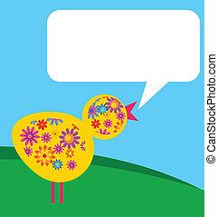 fiore, prato, struttura, uccello