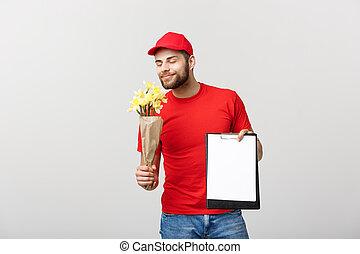 fiore, presa a terra, consegna, appunti, fondo, ritratto, bianco, felice, uomo