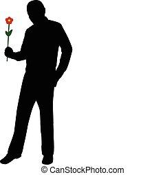 fiore, presa a terra, uomo