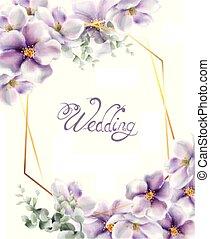 fiore, primavera, matrimonio, sfondi, acquarello, delicato, vector., ciliegia, fiori, scheda